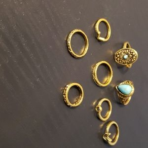 Bundle of 8 Gold Fashion jewelry rings